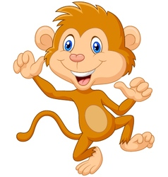 Cartoon monkey waving vector
