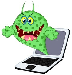 Cartoon Virus on laptop vector image
