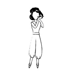 character woman standing gesture vector image