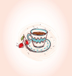 Cup of coffee and cherry Hand drawn sketch on pink vector image vector image
