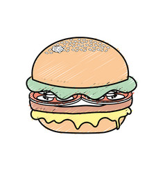 Delicious hamburger fast food meal vector