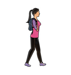 Drawing character woman walking with package vector
