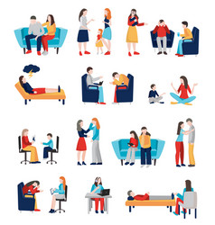 Family psychologist characters set vector