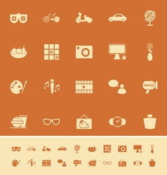 Favorite and like color icons on orange background vector image vector image
