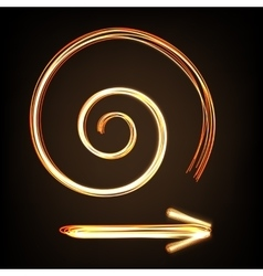 Fire-show style arrow sign and spiral vector