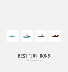 flat icon boat set of boat tanker transport and vector image vector image
