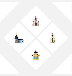 Flat icon christian set of building catholic vector