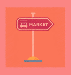 Flat shading style icon sign of market vector