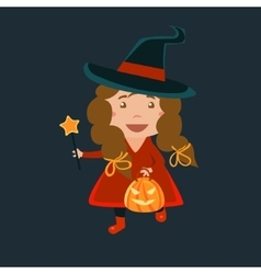 Girl In Whitch Red Haloween Disguise vector image