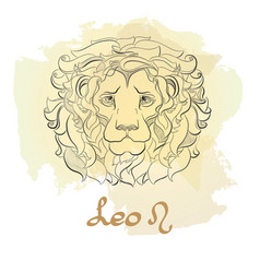 hand drawn line art of decorative zodiac sign leo vector image vector image