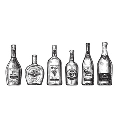 Hand-drawn set bottles for bar Alcoholic vector image vector image