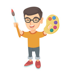 Happy boy drawing with colorful paints and brush vector