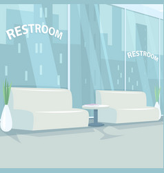 Interior of rest room with panoramic windows vector
