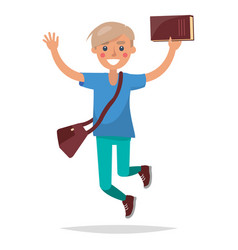 jumping blond boy student with book vector image vector image