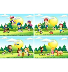 Kids playing in the park vector
