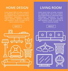 Living room design linear poster set vector
