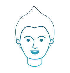Male face with modern hairstyle in degraded blue vector