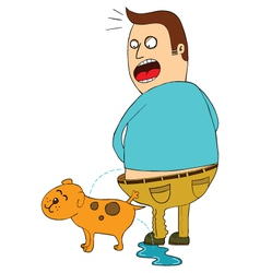 Man and dog urinating vector image vector image