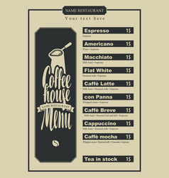 Menu with price for the coffee house with a pots vector