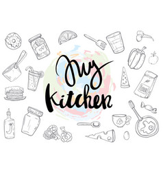 My kitchen related quotes set poster vector