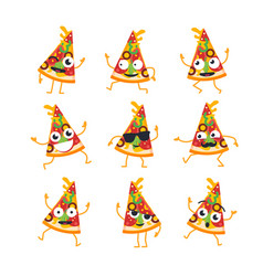 pizza - set of mascot vector image vector image