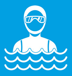 Scuba diver man in diving suit icon white vector