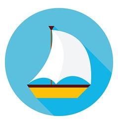 Sea boat circle icon vector