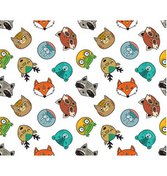 seamless pattern of cute animal portraits vector image vector image