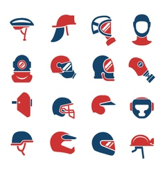 Set color icons of helmets and masks vector