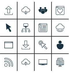 Set of 16 world wide web icons includes mouse vector