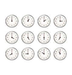 Set of clocks icons for every hour of day on white vector image vector image