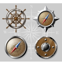 Set of Wooden Nautical elements isolated on white vector image vector image