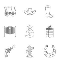 Sheriff element icon set outline style vector