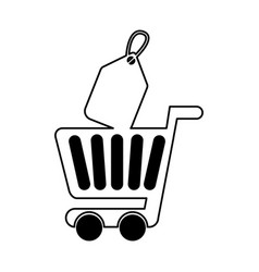 Shopping cart with commercial tag vector