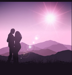 silhouette of couple in landscape vector image vector image