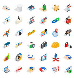 Supermarket icons set isometric style vector