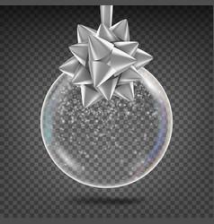 transparent christmas ball shiny glass vector image
