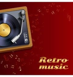 Vinyl record player poster vector image