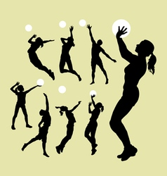 Volleyball sport silhouettes vector