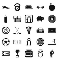 Weekend icons set simple style vector