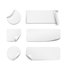 White paper stickers on white background vector image