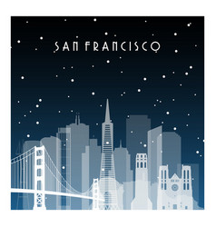 winter night in san francisco night city in flat vector image