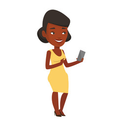 Young smiling woman holding mobile phone vector