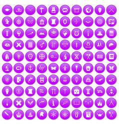 100 archeology icons set purple vector