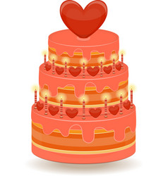 Valentines cake on white background vector