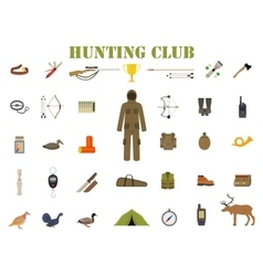Hunting equipment kit hunting rifle knife suit vector