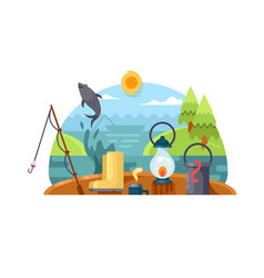 Recreation on fishing vector