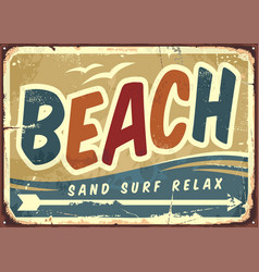 beach sign retro background vector image