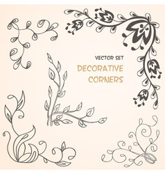 Summer floral decorative corners vector