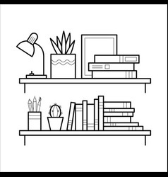 bookshelf in thin line style vector image